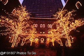 Illuminated bldg. at Christmas, NYC