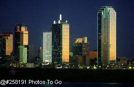 Skyline at night, Dallas, TX